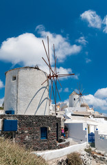 Iconic windmills on the Greek Island of Santorini
