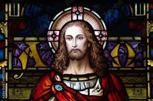 Tuinposter Bedehuis Jesus Christ in stained glass