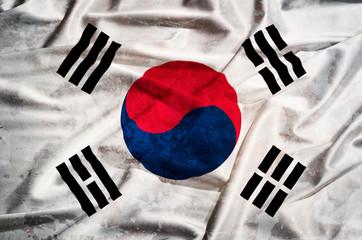 South korea gunge flag on a silk drape waving