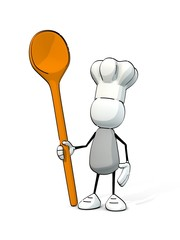 little sketchy man with chef's cap and cooking spoon
