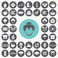 Japanese icons set. Illustration eps10