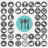 Fototapety Meal and food icons set. Illustration eps10