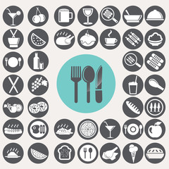 Meal and food icons set. Illustration eps10