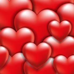 объемные красные сердца