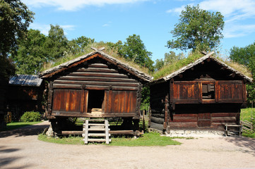 Wooden ethnic houses in Norway Oslo