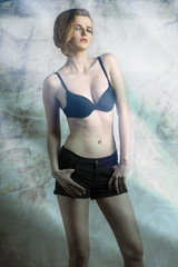 sexy girl with black bra. fashion color
