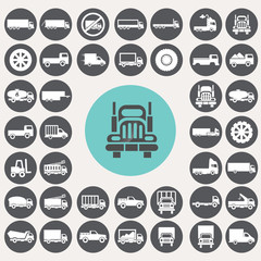 Truck icons set. Illustration eps10