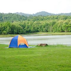 Single tent on green yard, camping.