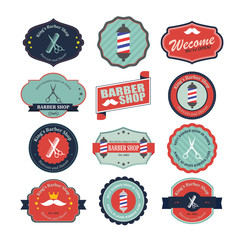 Set of vintage barber shop logo graphics and icons. Illustration