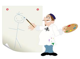 vignetta con aspirante pittore