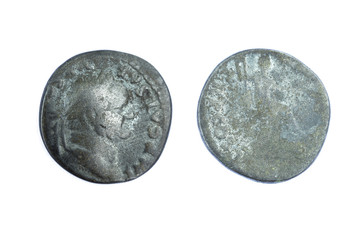 Silver denarius coins from Roman Emperor Vespasian