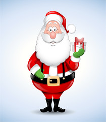 Happy cartoon Santa Claus holding a gift