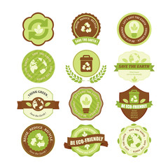 Set of ecology badges and labels. Illustration eps10