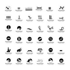 Hairdressing Icons Set - Isolated On White Background