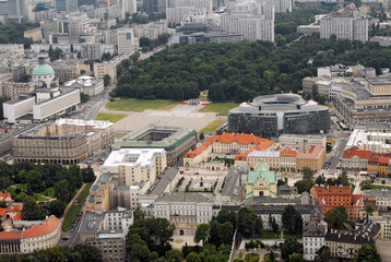 Warsaw downtown aerial