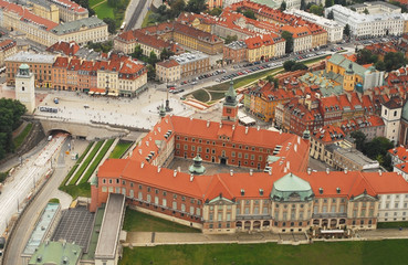 Old Town in Warsaw aerial