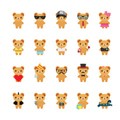 Teddy bear icons set. Illustration eps10