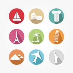 Icons set for travel with tourist sites worldwide