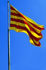 Catalonia flag against blue sky