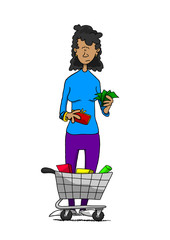 Woman holding cash with small grocery cart