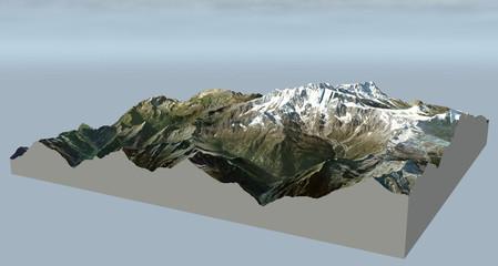 Cartina Monte Rosa vista aerea