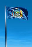 New York (USA) flag waving on the wind - 68255843