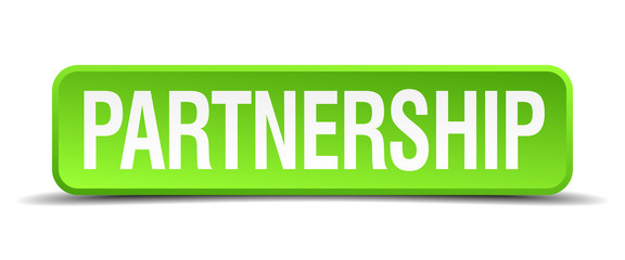 partnership green 3d realistic square isolated button