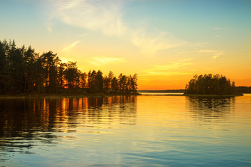 Sunset on the lake in Norway. White night.