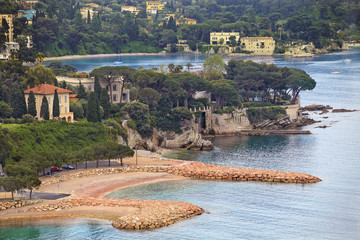 view of luxury Villefranche resort and bay. Cote d'Azur