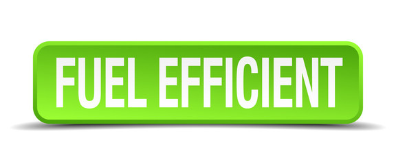 fuel efficient green 3d realistic square isolated button