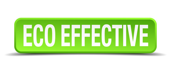 eco effective green 3d realistic square isolated button
