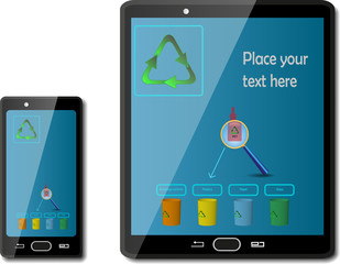 Smart phones with recycling signs