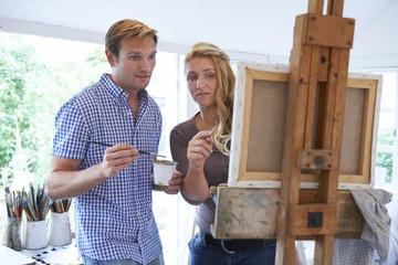 Man Attending Painting Class