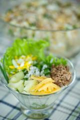 salad with rice and tuna