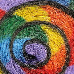 Colorful straw in farm, painting swirl.