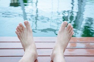 Two feet relaxing