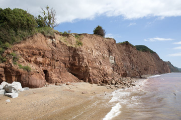 Cliff fall on The Jurassic coast at Sidmouth Devon UK