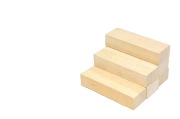Wooden block make to stair, business-concept.