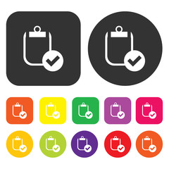 Checklist icon. Business management symbol. Round and rectangle