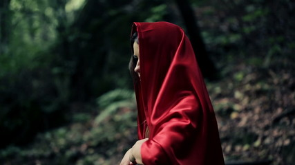 Beautiful mysterious woman, red riding hood in the forest