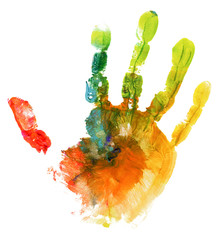 colored hand print on white background