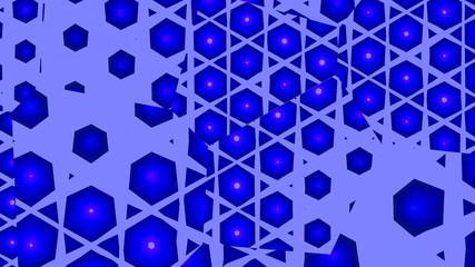 Blue hexagons in the mirrors.