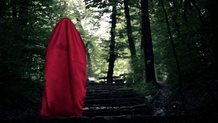 Mysterious woman, red riding hood walking in the forest