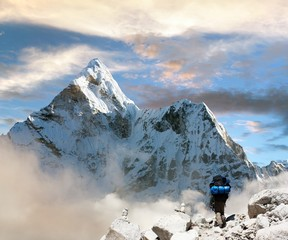 Beautiful view of Ama Dablam with tourist