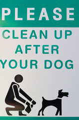 Clean up after your pets,  sign at public place.
