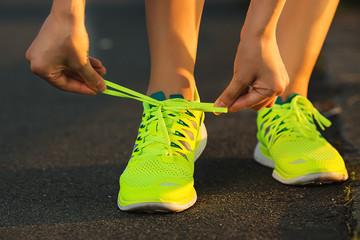 Running shoes. Barefoot running shoes closeup