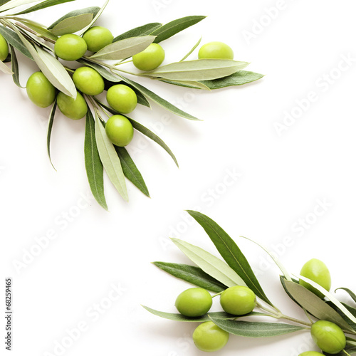 green olives on white background. copy space - 68259465