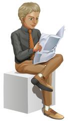 A businessman reading
