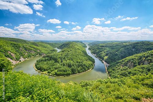 Fotobehang Rivier Saarschleife Summer View