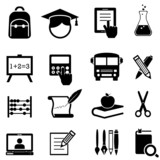 Fototapety School, learning and education icons